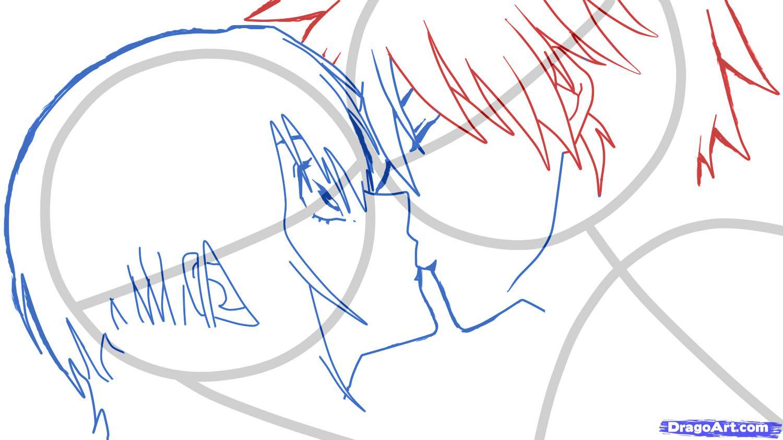 Рисуем аниме поцелуй для начинающих - шаг 5