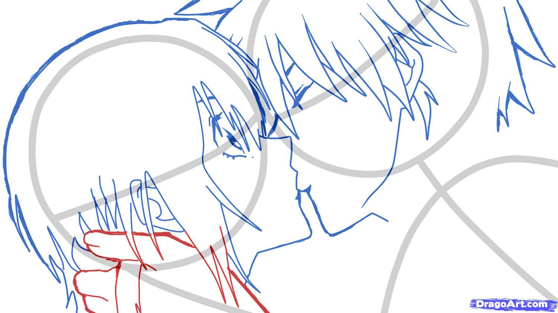 Рисуем аниме поцелуй для начинающих - шаг 6