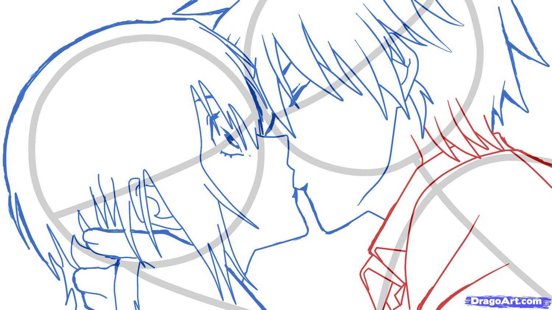 Рисуем аниме поцелуй для начинающих - шаг 7