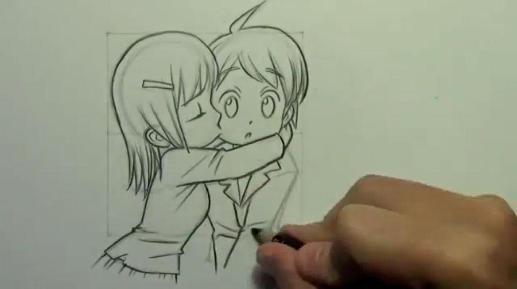 Рисуем аниме поцелуй в щеку - шаг 10