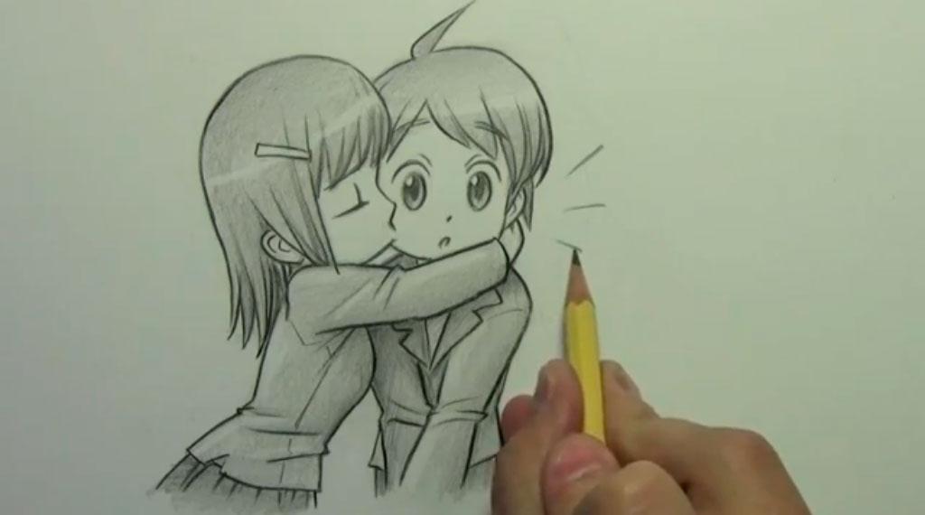 Рисуем аниме поцелуй в щеку - шаг 11