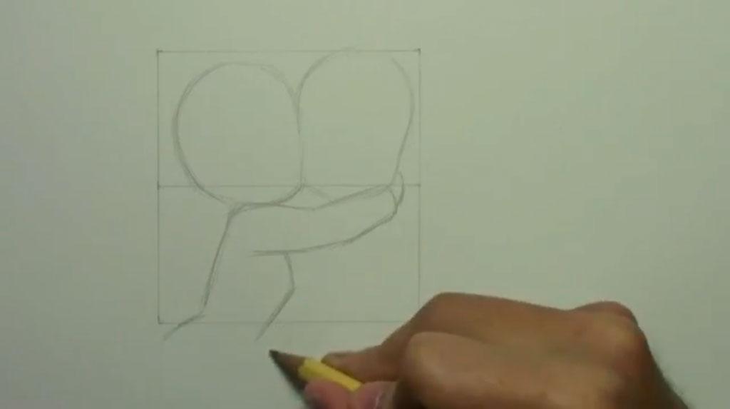 Рисуем аниме поцелуй в щеку - шаг 3