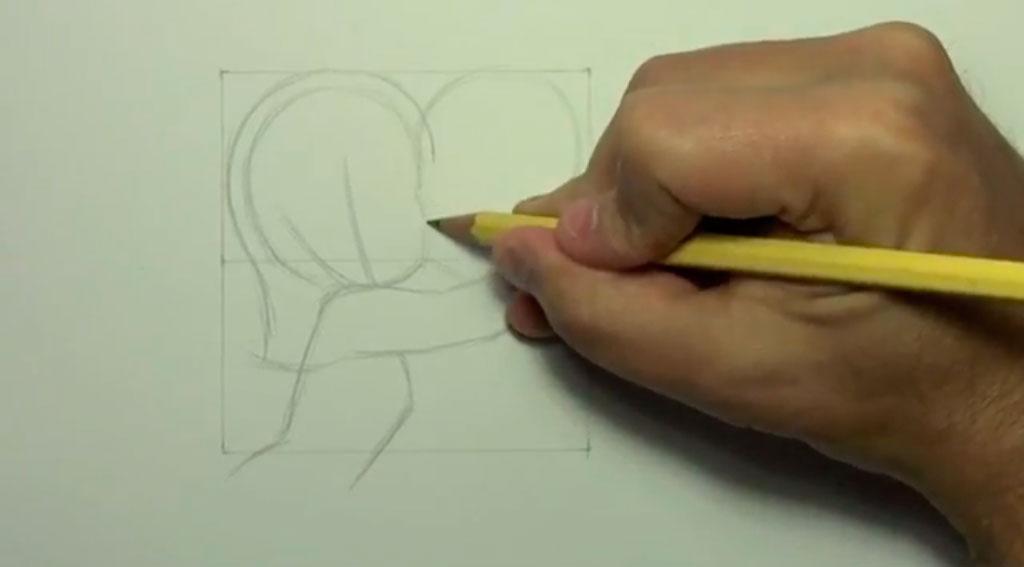 Рисуем аниме поцелуй в щеку - шаг 4