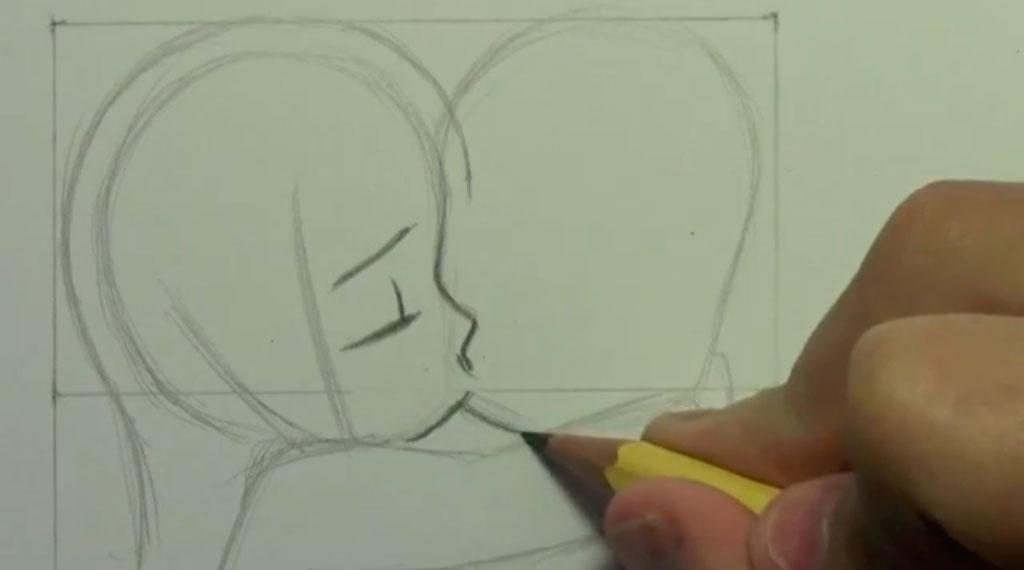Рисуем аниме поцелуй в щеку - шаг 5