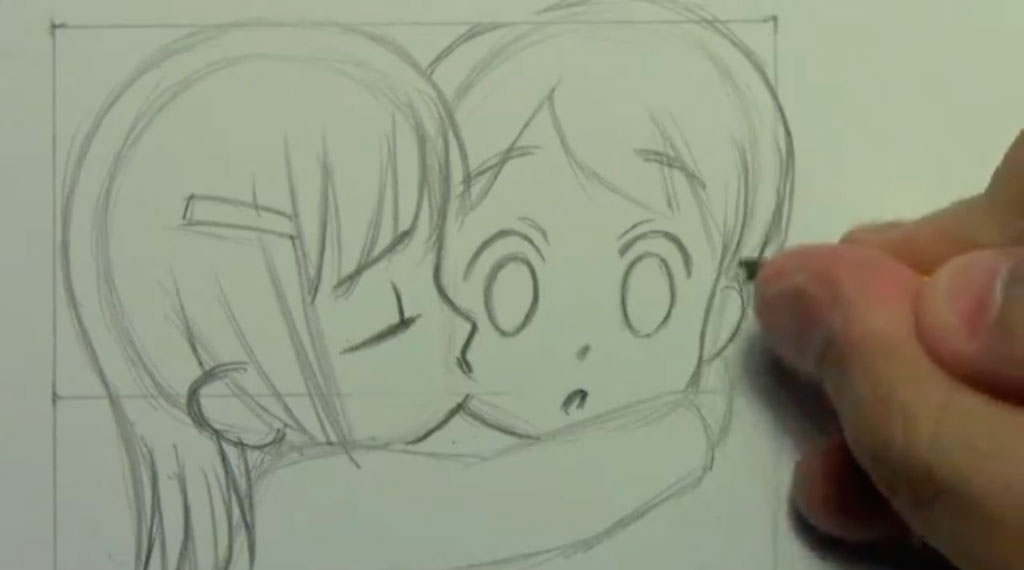 Рисуем аниме поцелуй в щеку - шаг 7