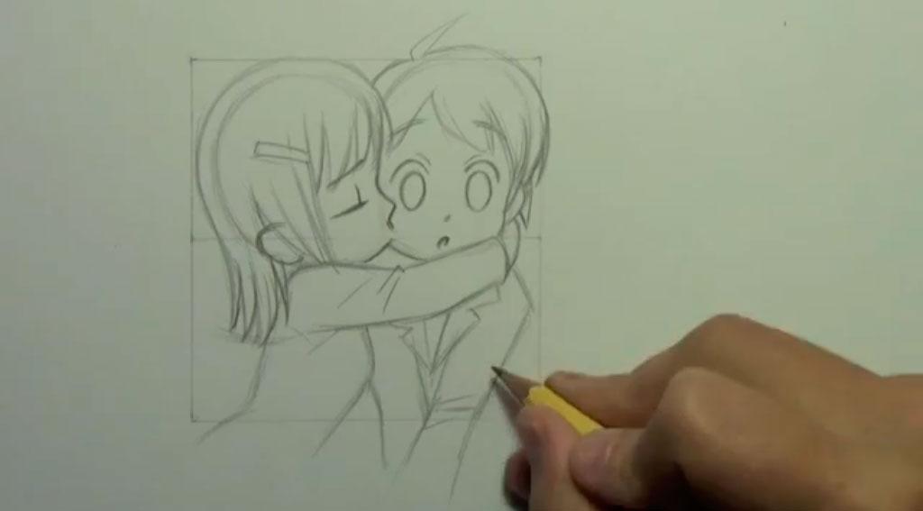 Рисуем аниме поцелуй в щеку - шаг 8