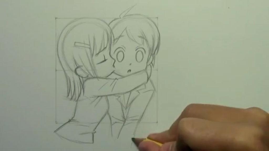 Рисуем аниме поцелуй в щеку - шаг 9