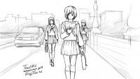 Фото аниме школьницу карандашом