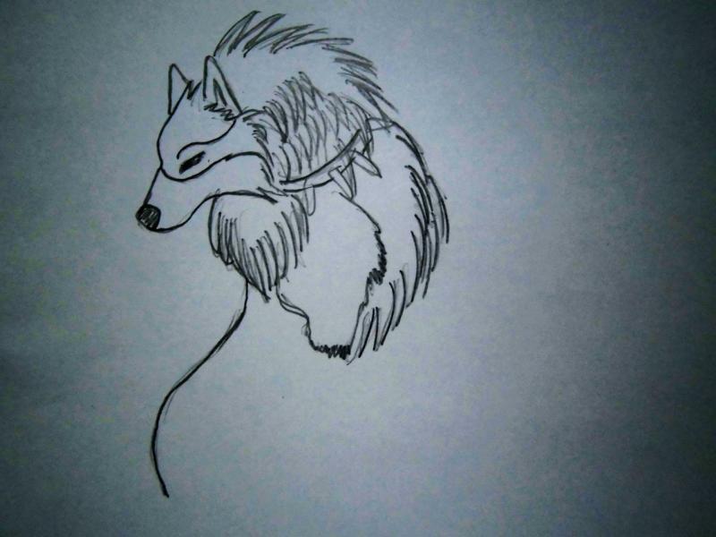 Рисуем аниме волка - шаг 2