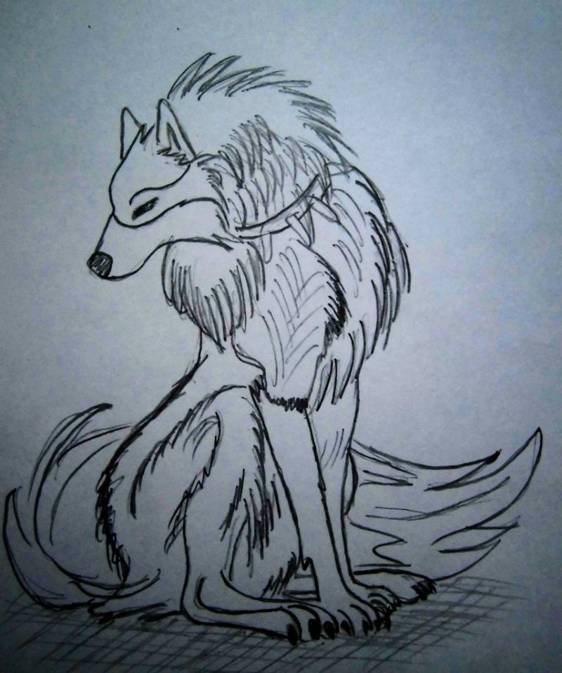 Рисуем аниме волка - шаг 4