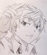 Фото Ару Акисэ из аниме Дневник будущего карандашом