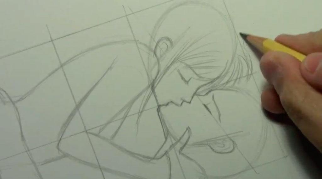 Рисуем аниме пару карандашами - шаг 4