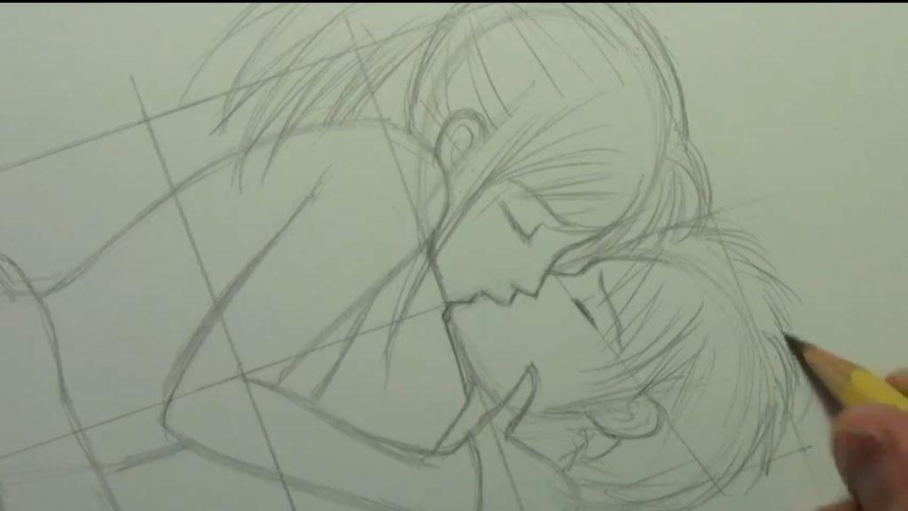 Рисуем аниме пару карандашами - шаг 5
