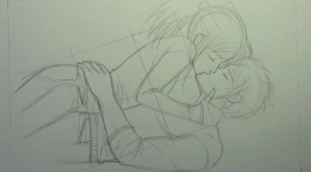 Рисуем аниме пару карандашами - шаг 7