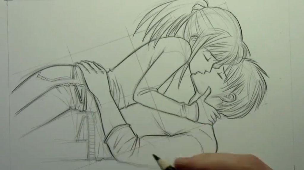 Рисуем аниме пару карандашами - фото 8