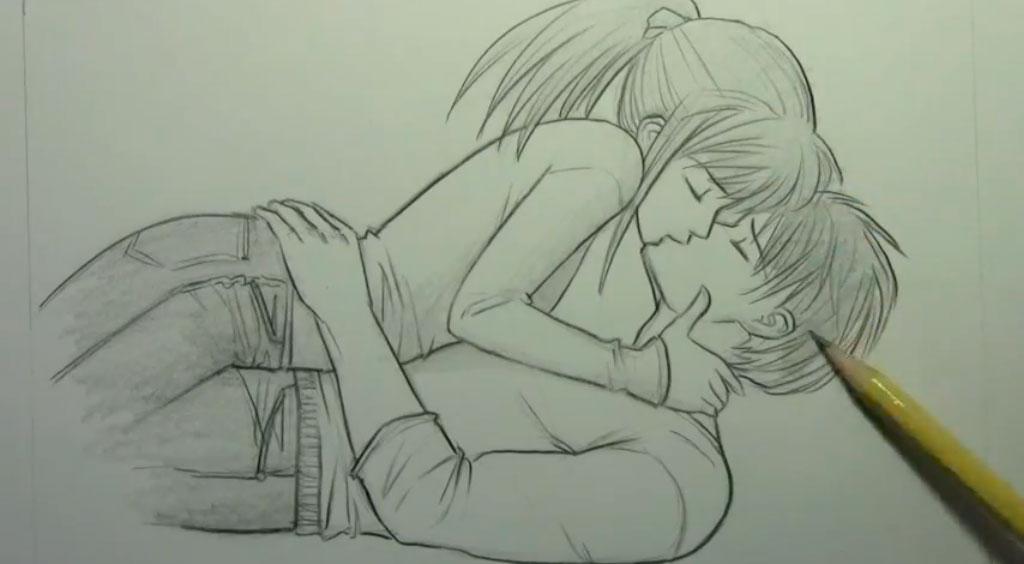 Рисуем аниме пару карандашами - шаг 9