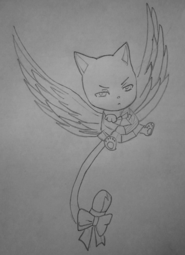Как нарисовать Чарли из Fairy Tail карандашом поэтапно