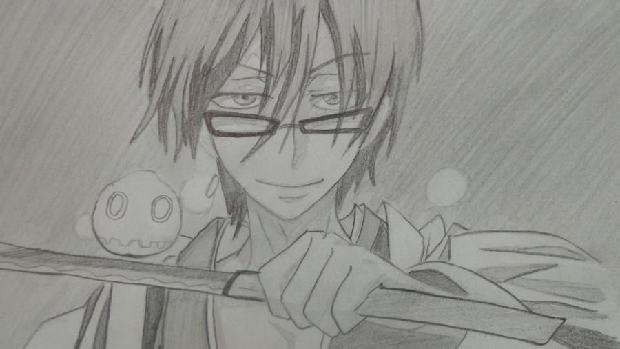 Как нарисовать Цубаки, слугу-вампира уныние из аниме Сервамп карандашом поэтапно