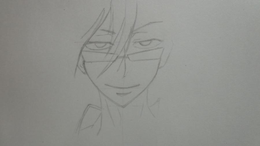Рисуем Цубаки, слугу-вампира уныние из аниме Сервамп - шаг 4