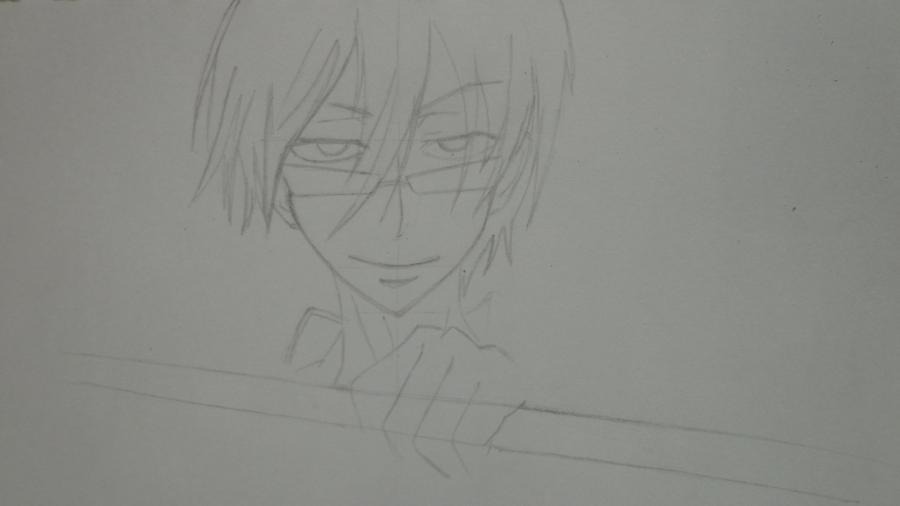 Рисуем Цубаки, слугу-вампира уныние из аниме Сервамп - шаг 6