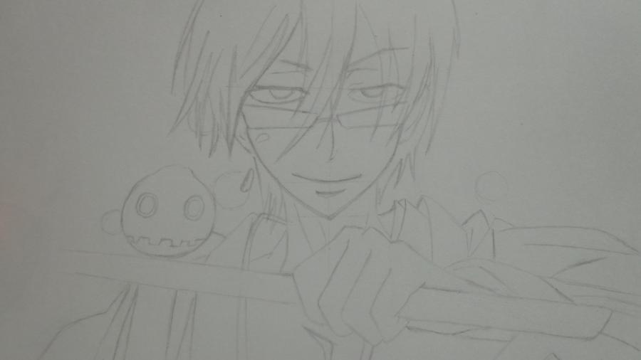 Рисуем Цубаки, слугу-вампира уныние из аниме Сервамп - шаг 7