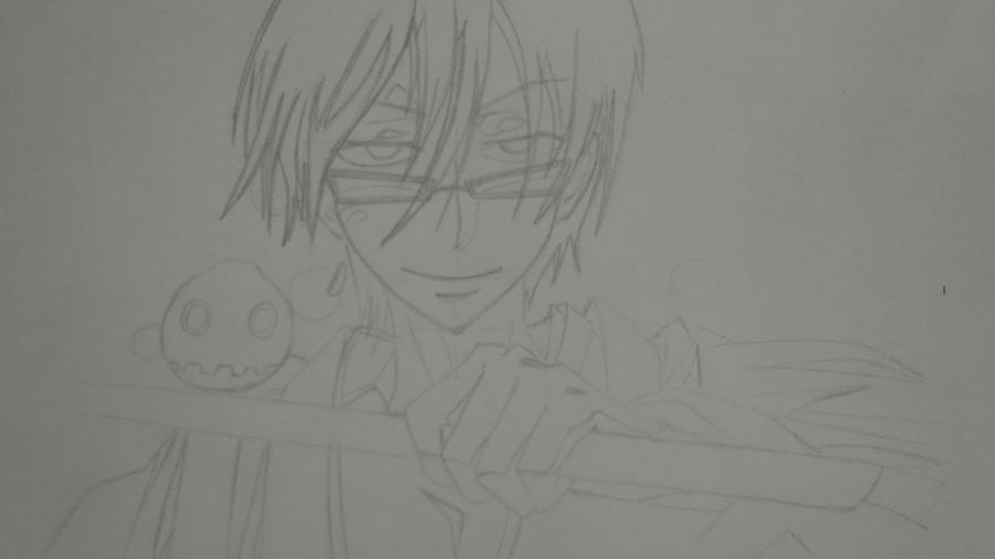 Рисуем Цубаки, слугу-вампира уныние из аниме Сервамп - шаг 8
