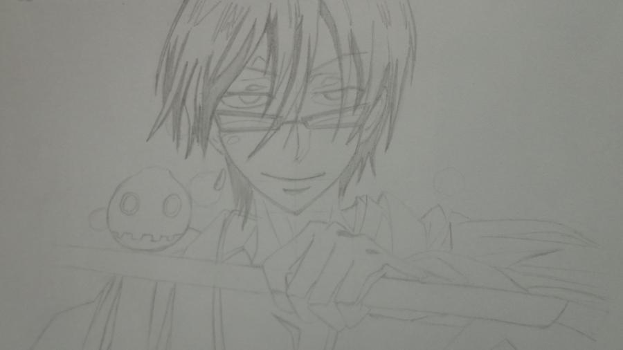 Рисуем Цубаки, слугу-вампира уныние из аниме Сервамп - шаг 9