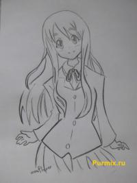 Цумуги Котобуки из аниме K-on карандашом