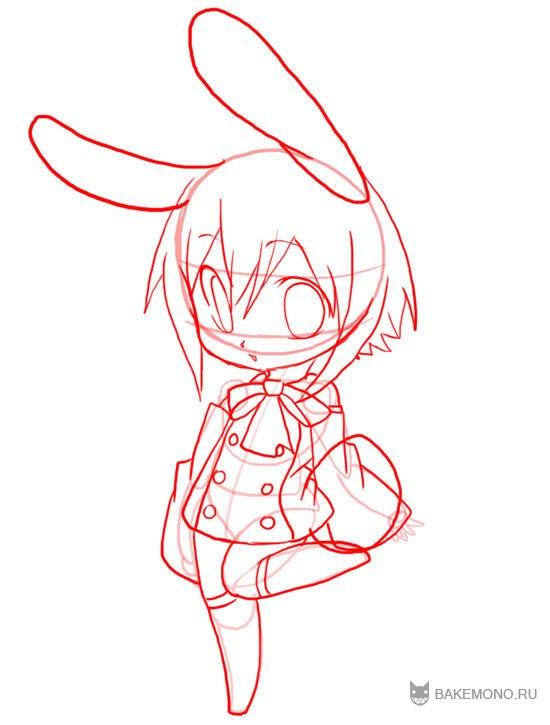 Рисуем девочку-кролика в стиле чиби в полный рост - фото 10