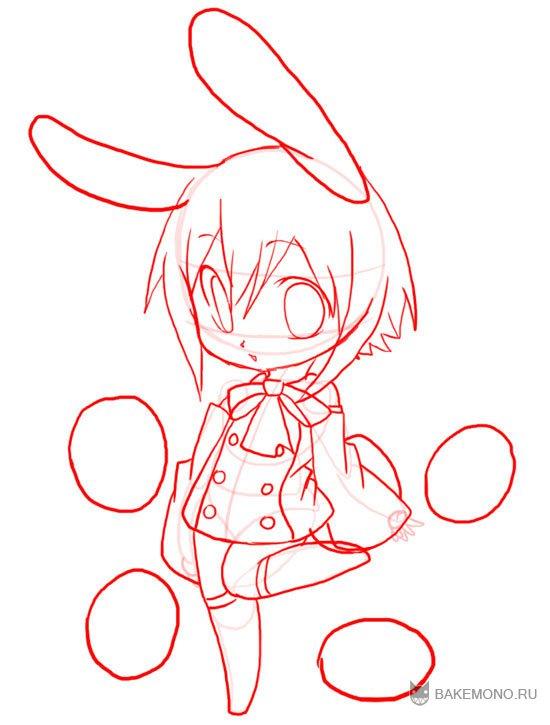 Рисуем девочку-кролика в стиле чиби в полный рост - фото 11