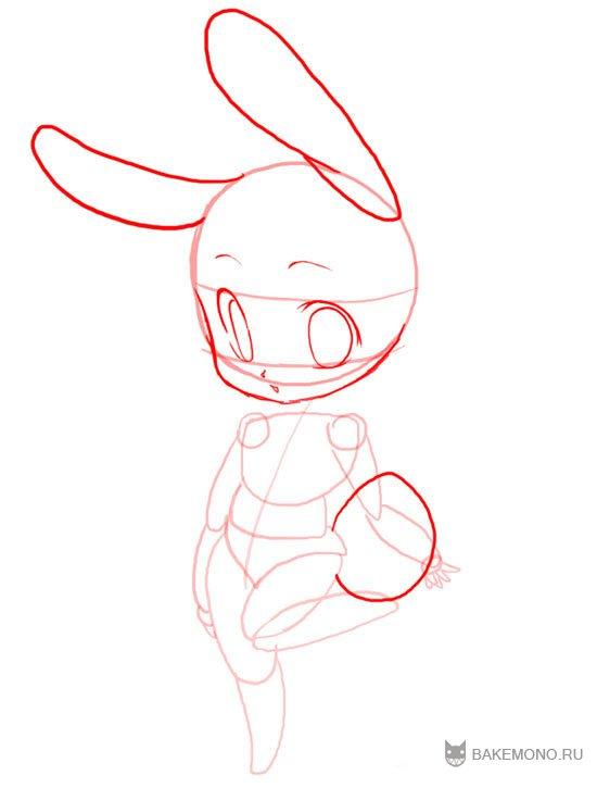 Рисуем девочку-кролика в стиле чиби в полный рост - фото 9