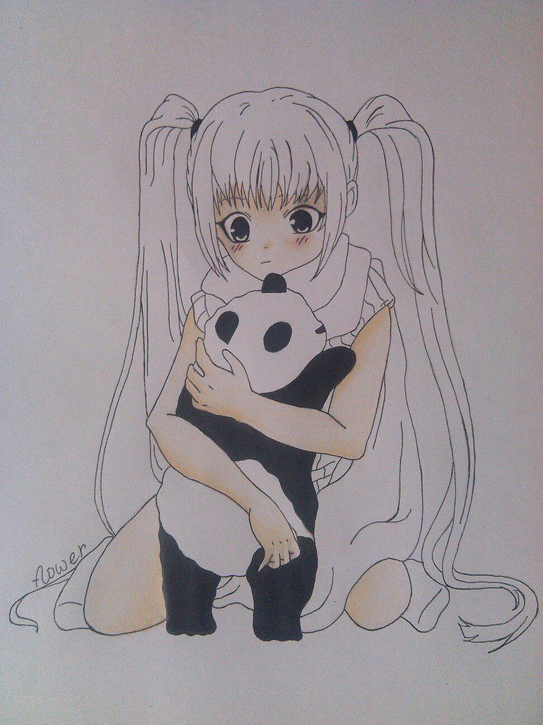 Как нарисовать девочку аниме с пандой карандашом поэтапно - шаг 10