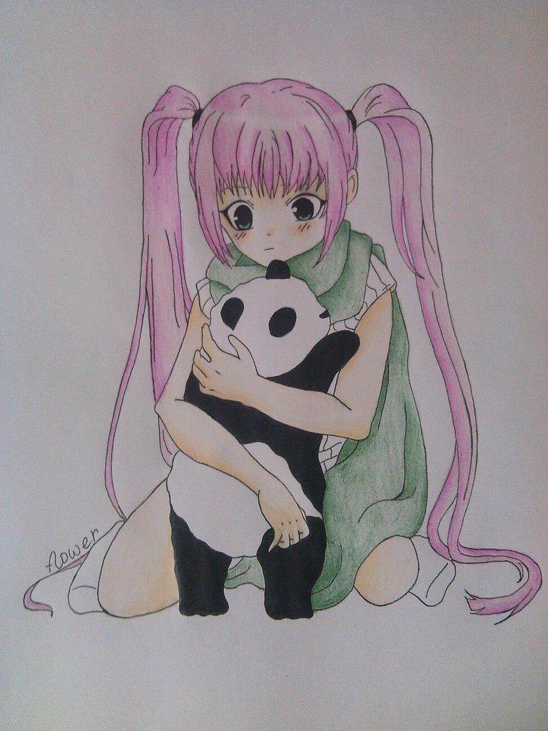 Как нарисовать девочку аниме с пандой карандашом поэтапно - шаг 12