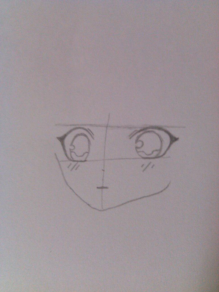 Как нарисовать девочку аниме с пандой карандашом поэтапно - шаг 2