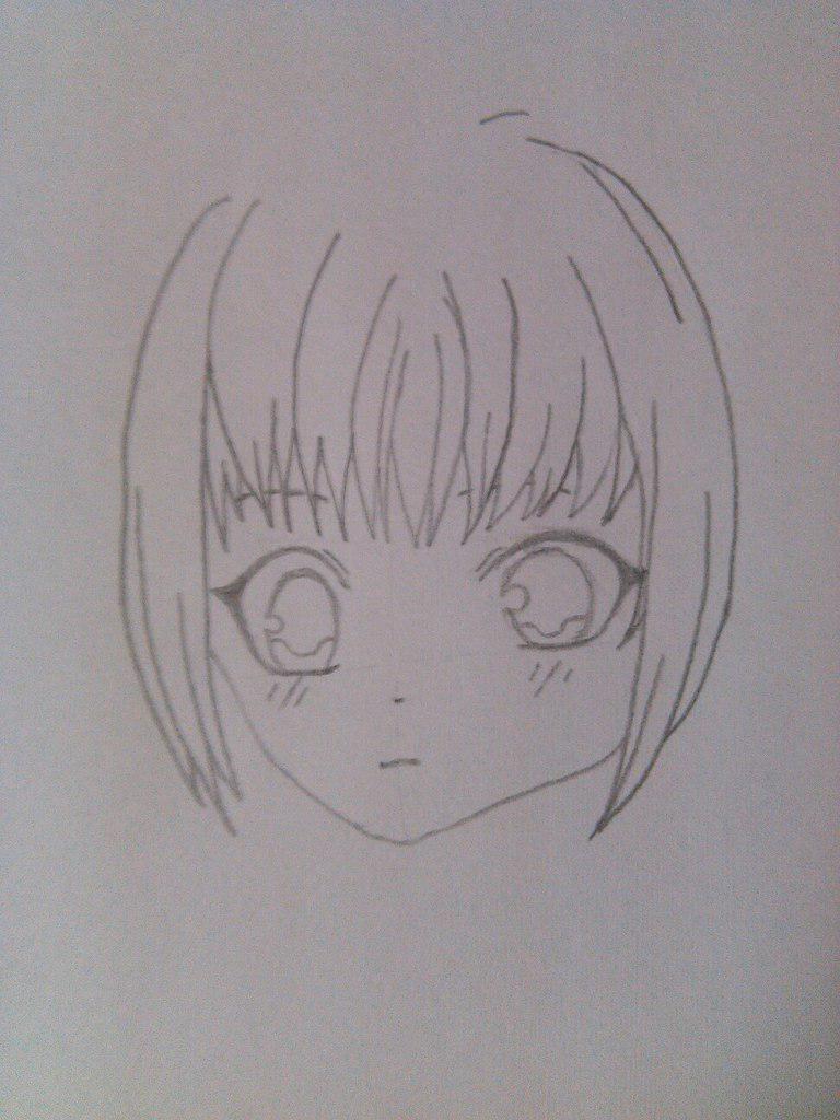 Как нарисовать девочку аниме с пандой карандашом поэтапно - шаг 3
