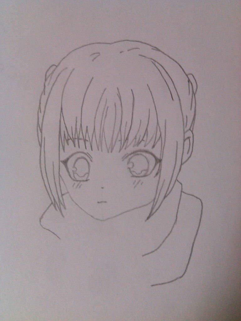 Как нарисовать девочку аниме с пандой карандашом поэтапно - шаг 4