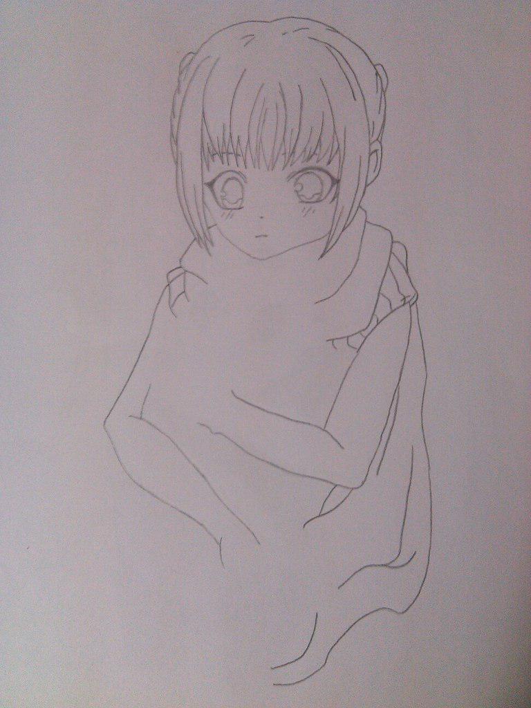 Как нарисовать девочку аниме с пандой карандашом поэтапно - шаг 5
