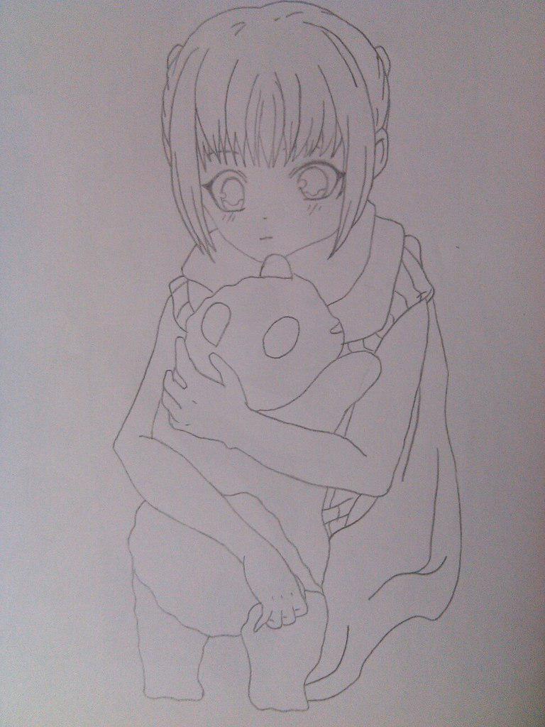 Как нарисовать девочку аниме с пандой карандашом поэтапно - шаг 6