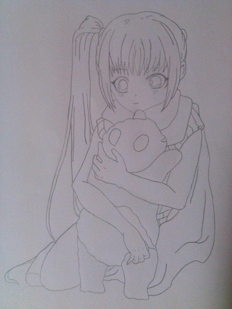 Как нарисовать девочку аниме с пандой карандашом поэтапно - шаг 7