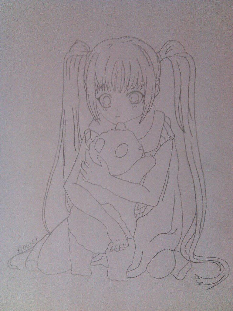 Как нарисовать девочку аниме с пандой карандашом поэтапно - шаг 8