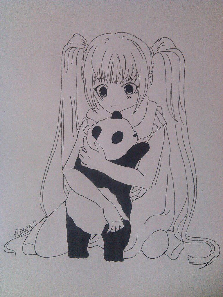 Как нарисовать девочку аниме с пандой карандашом поэтапно - шаг 9