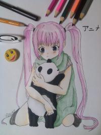 девочку аниме с пандой карандашом