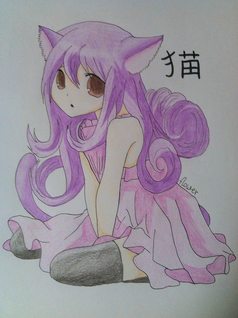 Рисуем девочку неко карандашами - шаг 7