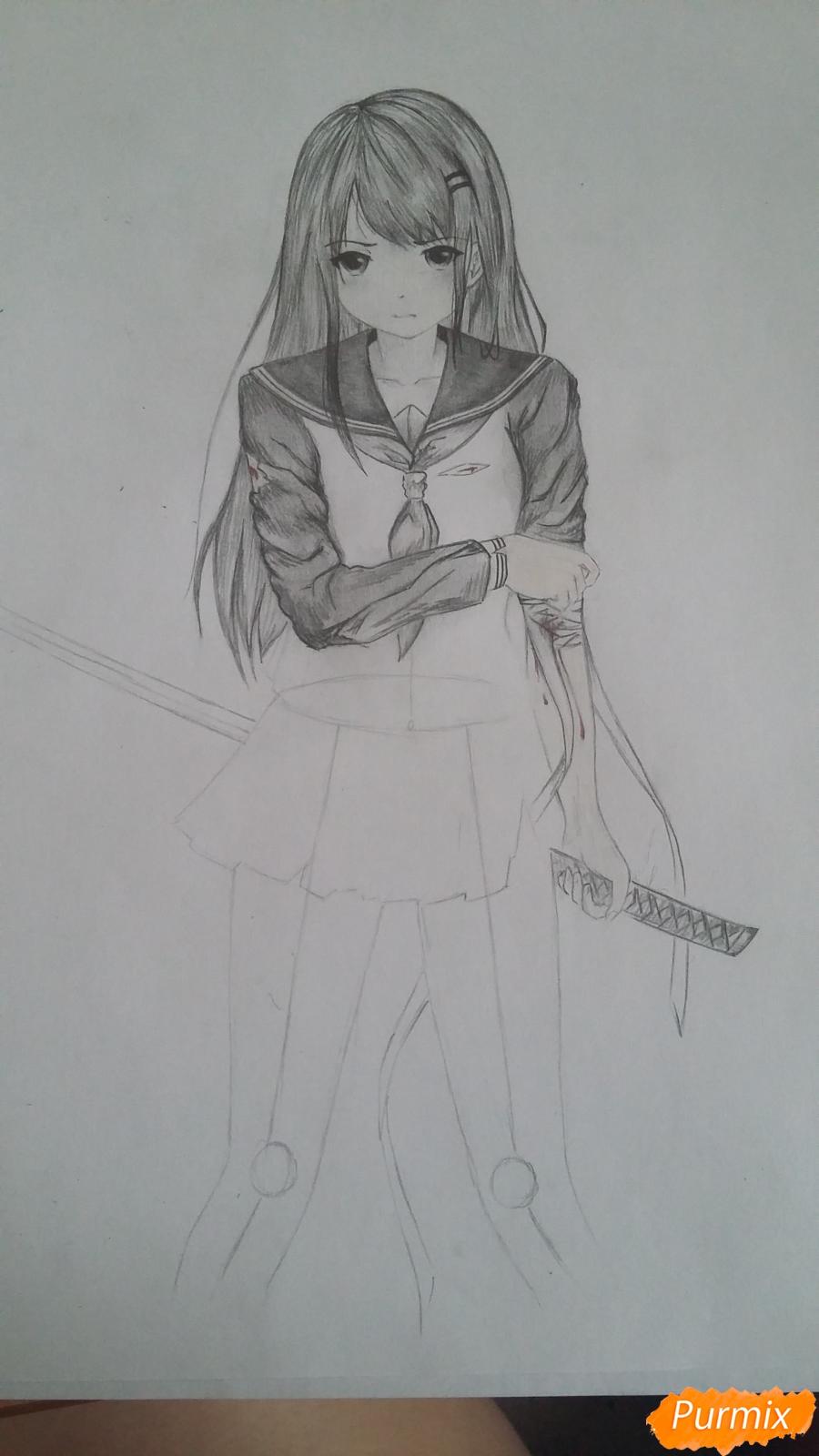 Рисуем девушку с катаной в аниме стиле - шаг 10