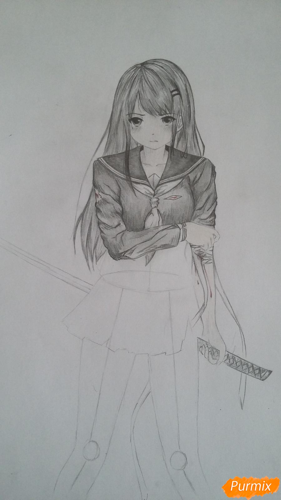Рисуем девушку с катаной в аниме стиле - шаг 11