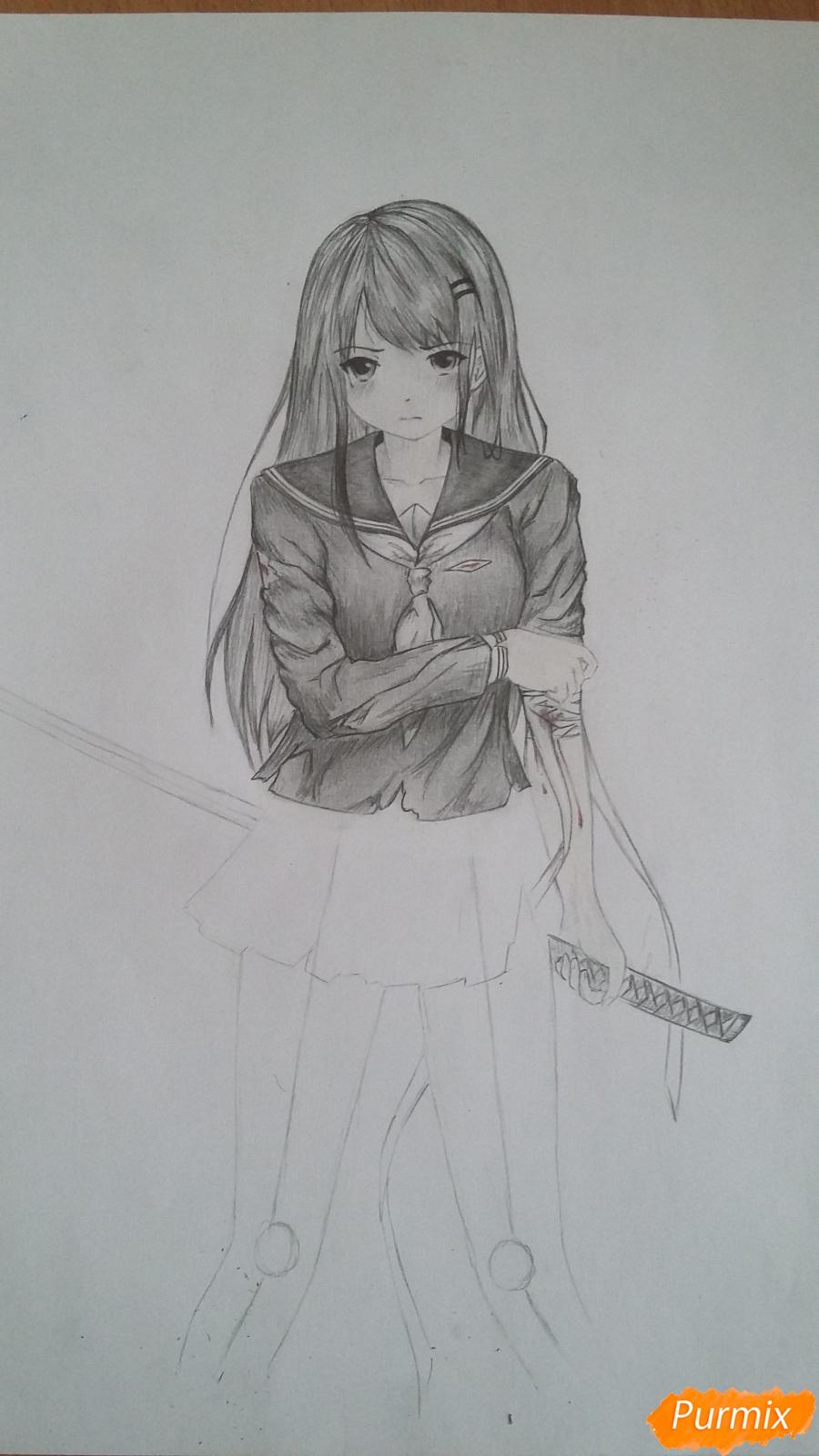 Рисуем девушку с катаной в аниме стиле - шаг 12
