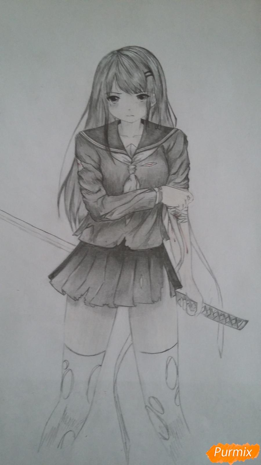 Рисуем девушку с катаной в аниме стиле - шаг 15