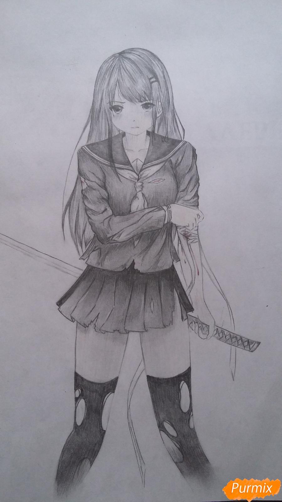 Рисуем девушку с катаной в аниме стиле - шаг 16