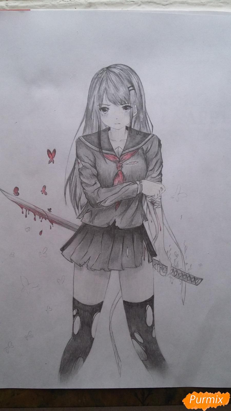 Рисуем девушку с катаной в аниме стиле - шаг 17