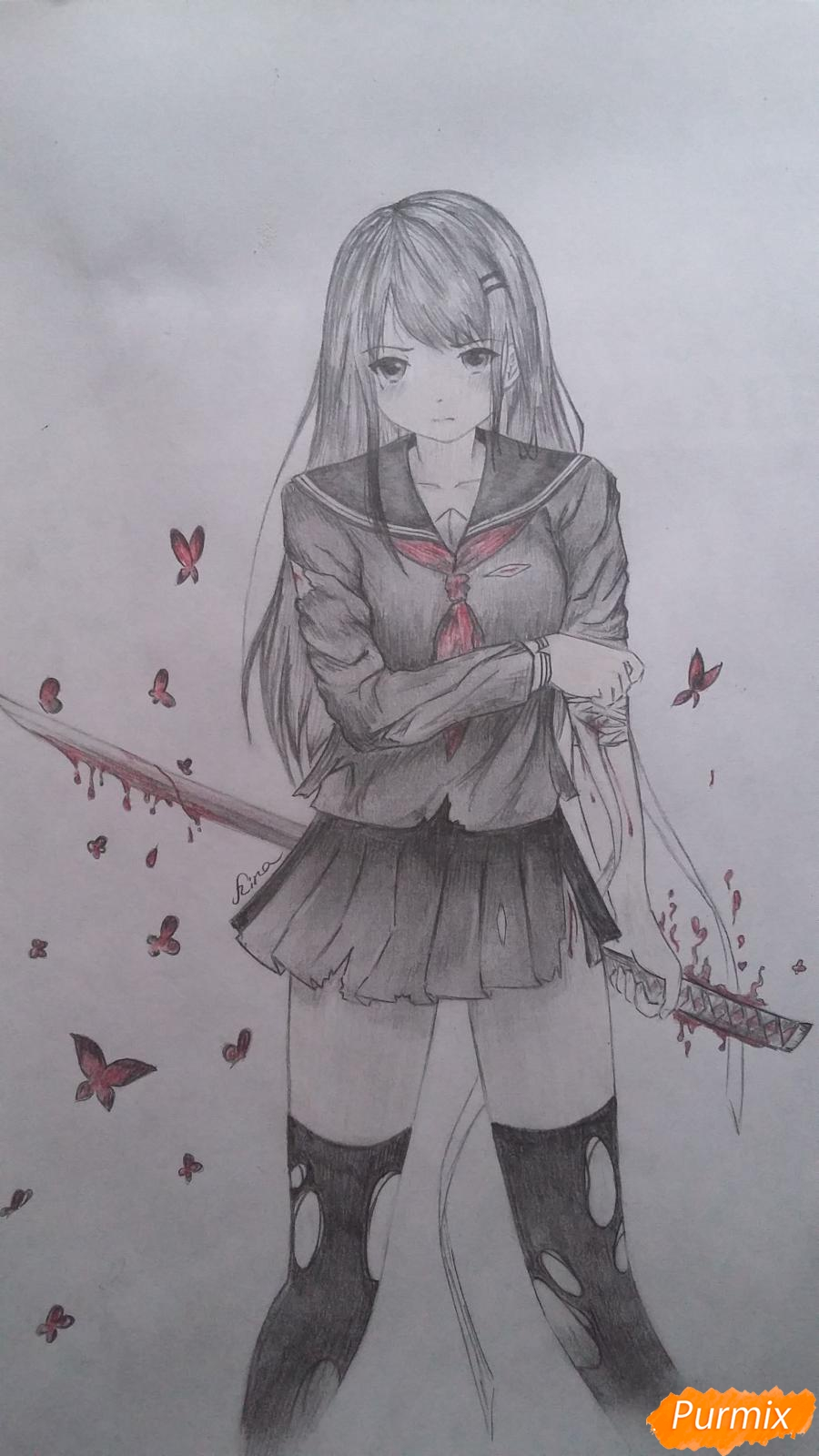 Как нарисовать девушку с катаной в аниме стиле карандашом поэтапно